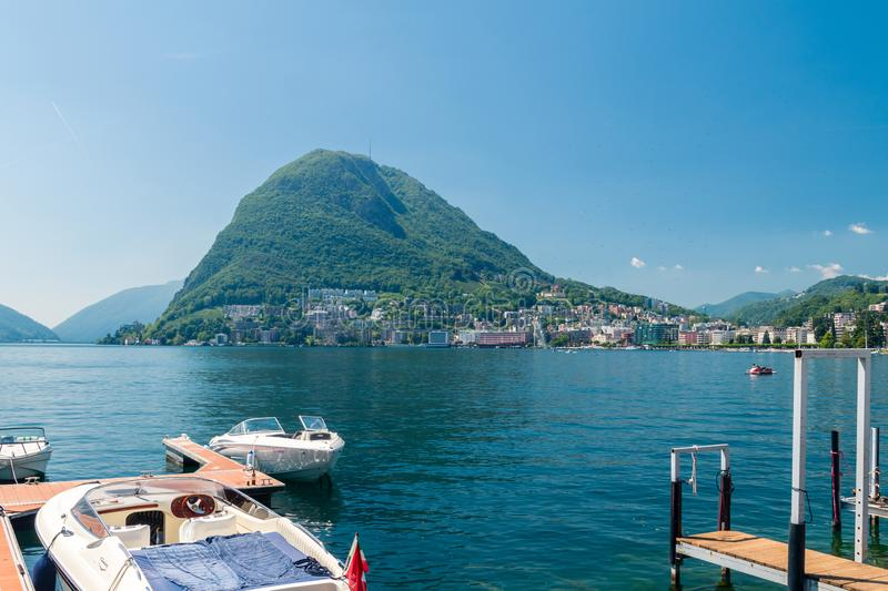 Monte San Salvatore. Mountain in the Lepontine Alps above Lake Lugano in Switzerland stock photography