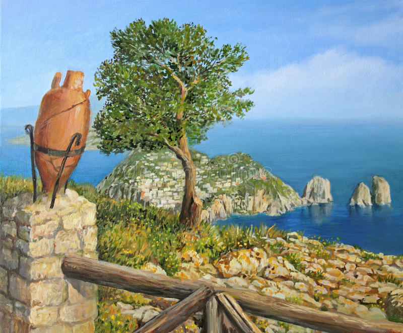 Download Monte Solaro On Island Capri Stock Illustration - Illustration of realism, pinetree: 25213172