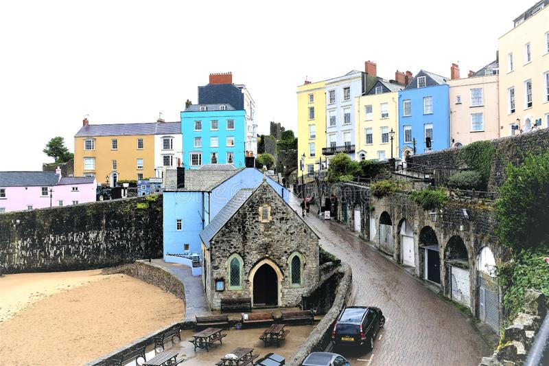 Monte teso da angra, Tenby, Gales imagem de stock royalty free