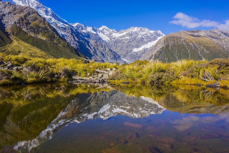 Monte vales de Tasman, cume do sul de parque nacional do cozinheiro de Aoraki Mt fotografia de stock royalty free