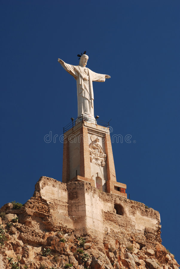 Monteagudo statue and castle royalty free stock photography