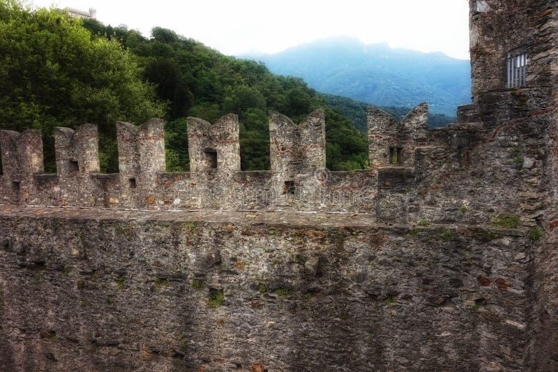 Montebello kasztelu ramparts w Szwajcaria obraz royalty free