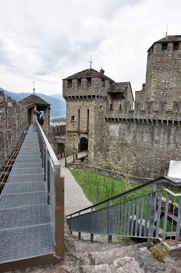 Montebello kasztelu ramparts w Szwajcaria zdjęcie stock