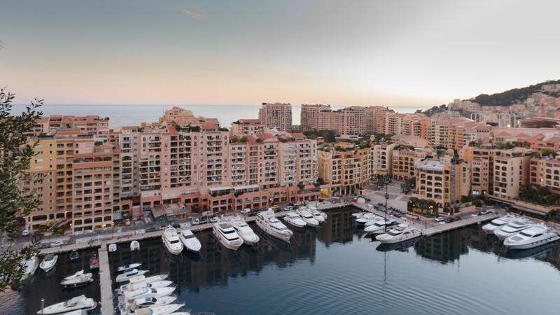 Natural harbor in Montecarlo`s cityscape. Montecarlo, Monaco; 03 15 2019; Natural harbor in Montecarlo`s cityscape , Monaco royalty free stock images