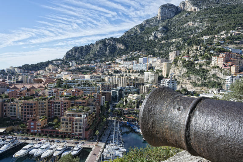 Montecarlo monaco panorama. Landscape city view with cannon royalty free stock images