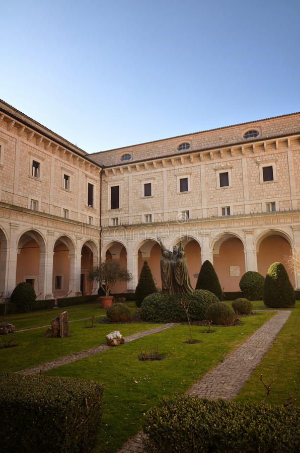Montecassino Abbey, religious and historic destination in Cassino. Italy. Benedictine Montecassino Abbey, Cassino, Italy, destroyed by bombing in second World royalty free stock images