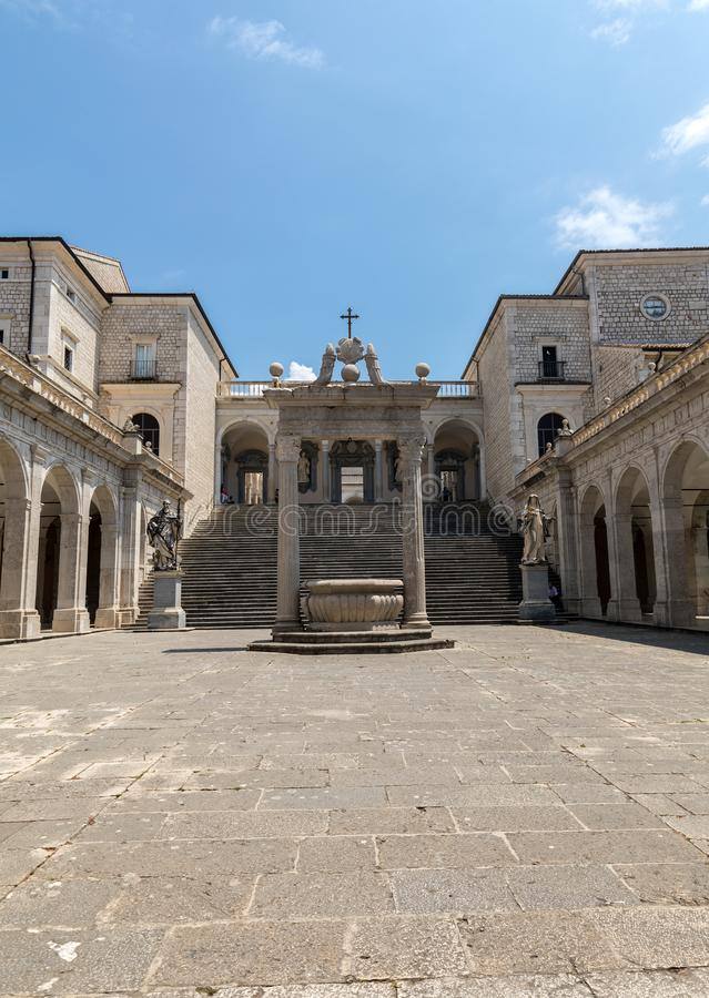 Cistern and statues of St. Benedict and St. Scholastica in the Cloister of Bramante, Benedictine abbey of Montecassino. Italy stock photography