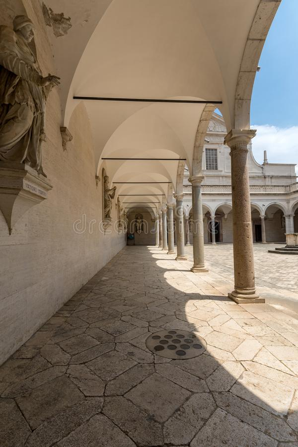 Cloister of Benedictine abbey of Montecassino. Italy royalty free stock photography