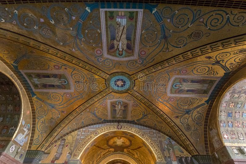 Crypt Inside the Basilica Cathedral at Monte Cassino Abbey. Italy royalty free stock images