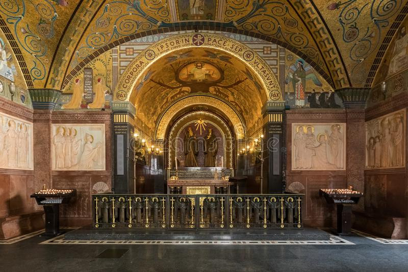 Crypt Inside the Basilica Cathedral at Monte Cassino Abbey. Italy stock photo