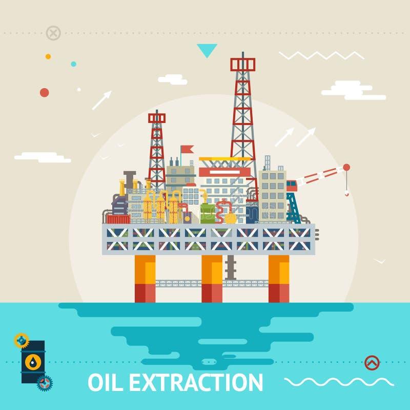 Monteert het olieproductie zeeplatform informeel de minerale oceaan van het overzeese vectorillustratie extractie vlakke ontwerp stock illustratie