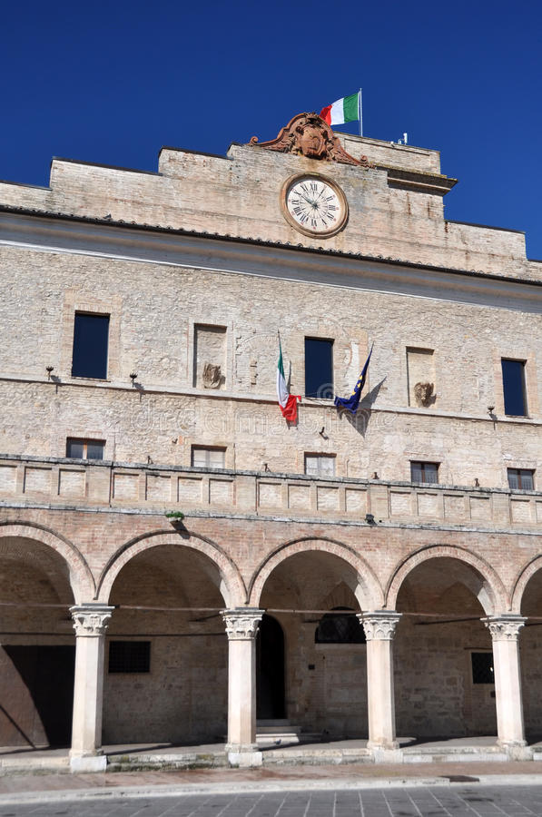 Montefalco central square piazza, Italy stock images