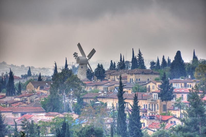 Montefiore风车,耶路撒冷以色列 免版税库存图片