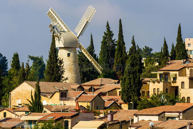 Montefiore windmill. In Jerusalem, israel. Built in 1857, by Moses Montefiore stock image