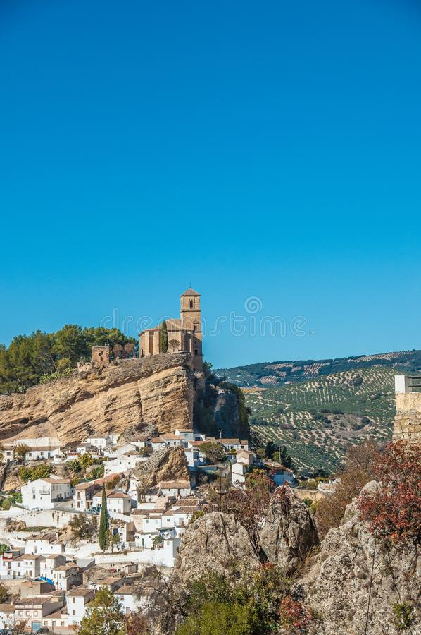 Montefrio镇的全景  免版税库存照片