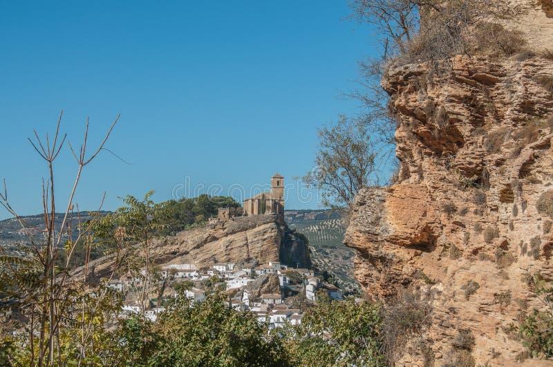 Montefrio镇的全景  免版税库存图片