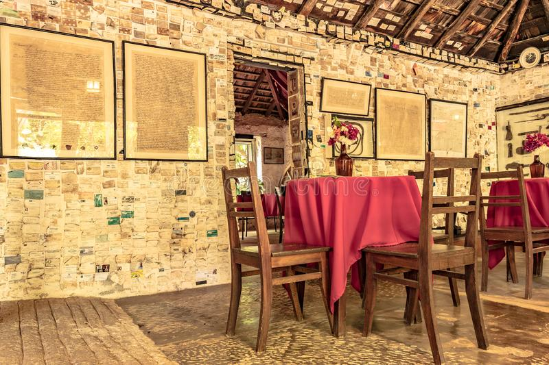 Vintage decor restaurant at the Greenwood Great House Antique Museum in Montego Bay, Jamaica. royalty free stock image