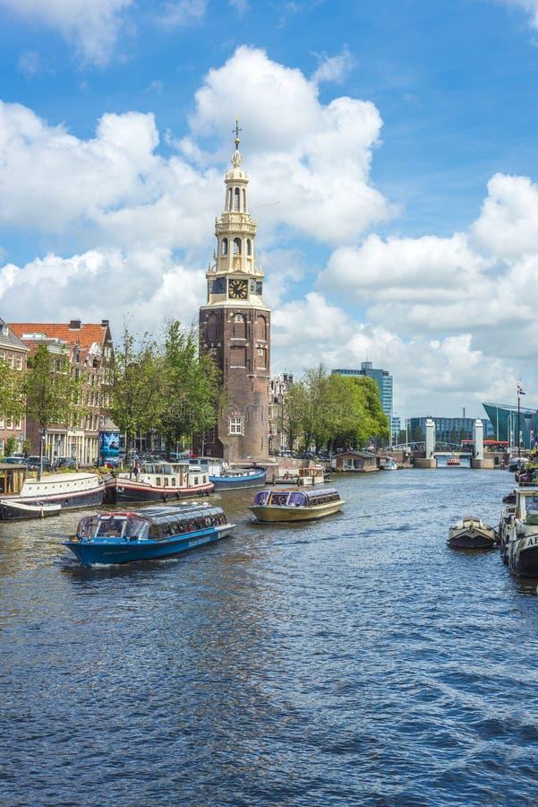 Montelbaanstoren塔在阿姆斯特丹,荷兰 库存照片