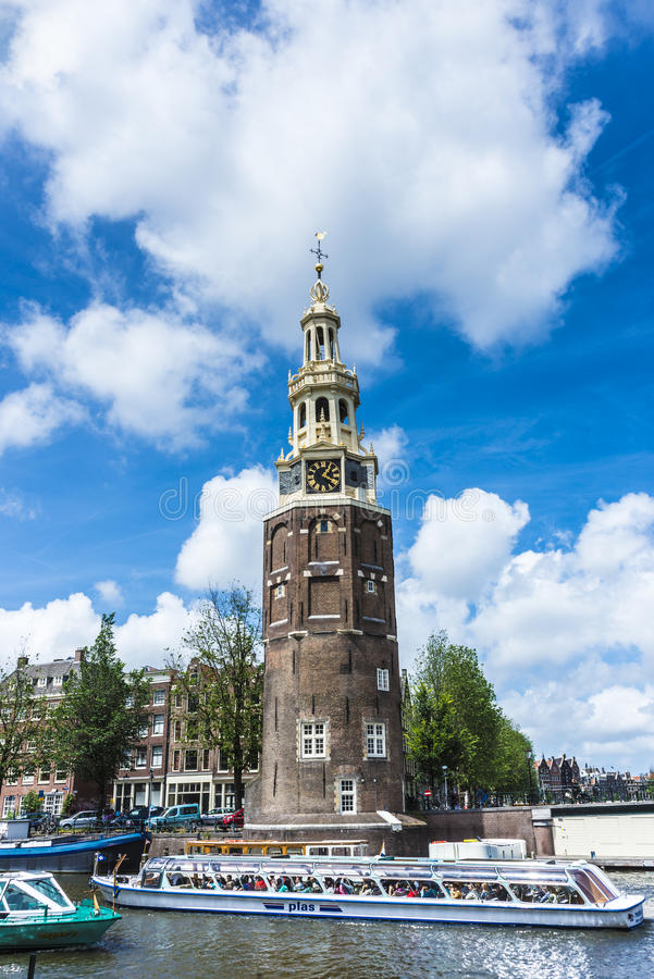 Montelbaanstoren塔在阿姆斯特丹,荷兰 免版税库存图片