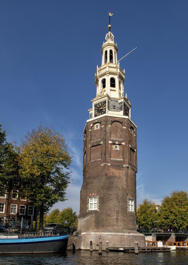 Montelbaanstoren钟楼,阿姆斯特丹,荷兰 免版税库存图片