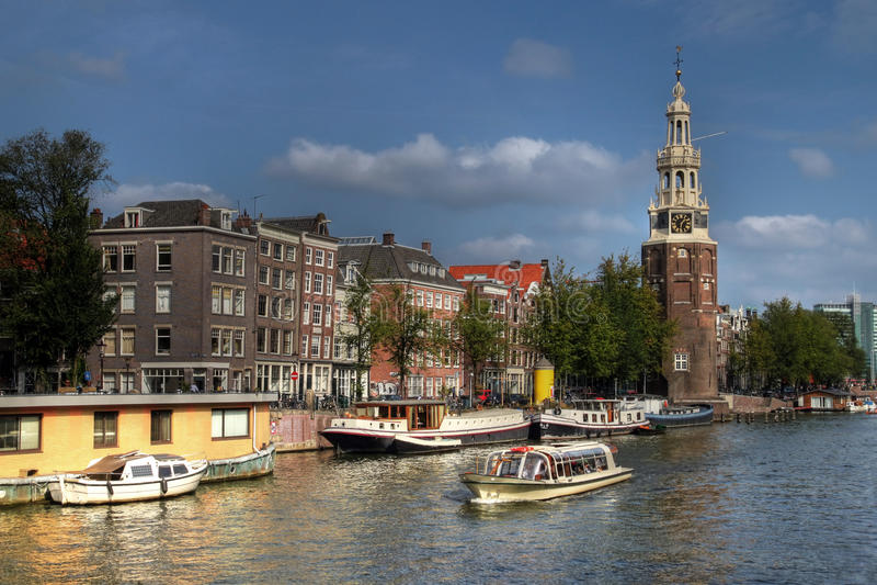 Montelbaanstoren, Amsterdam, los Países Bajos imagenes de archivo