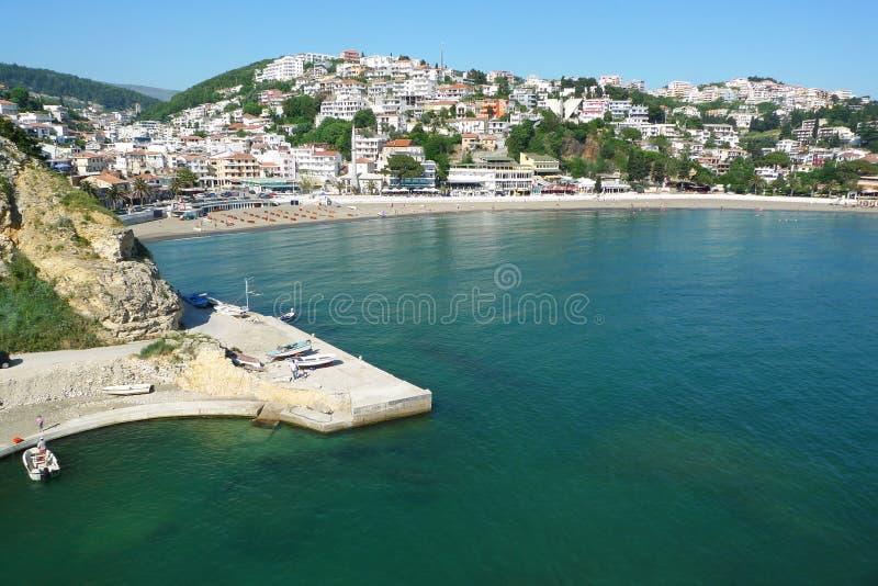 montenegro旧港口罗马ulcinj 库存照片