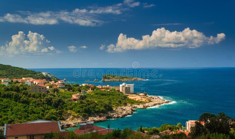 Montenegro, Adriatisch overzees mooi landschap stock afbeeldingen