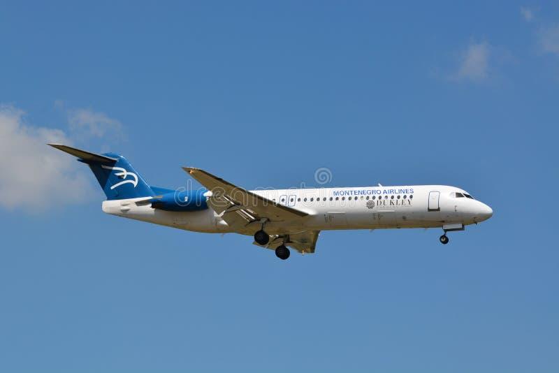 Montenegro Airlines Fokker 100 / 4O-AOM / Dukley Gardens Resort stock photo