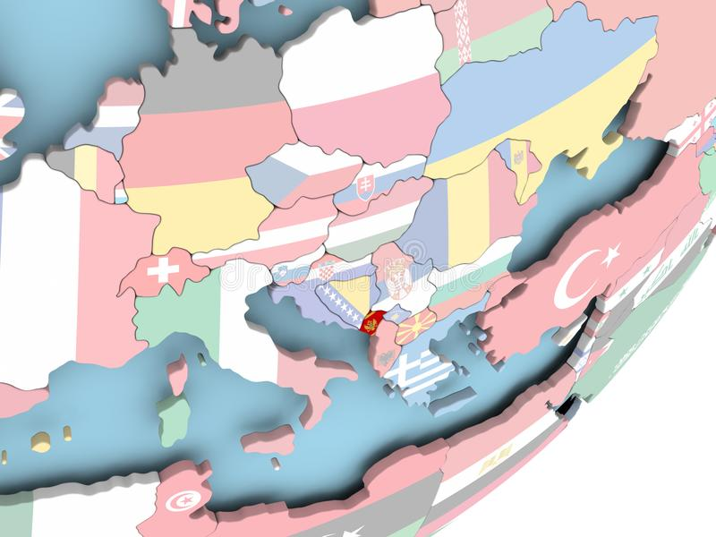 Montenegro con la bandera stock de ilustración