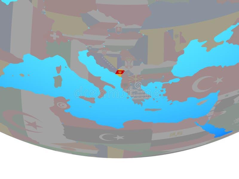 Montenegro con la bandera en el globo stock de ilustración