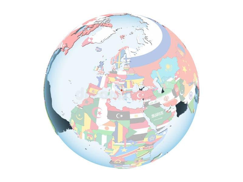 Montenegro con la bandera en el globo aislado ilustración del vector