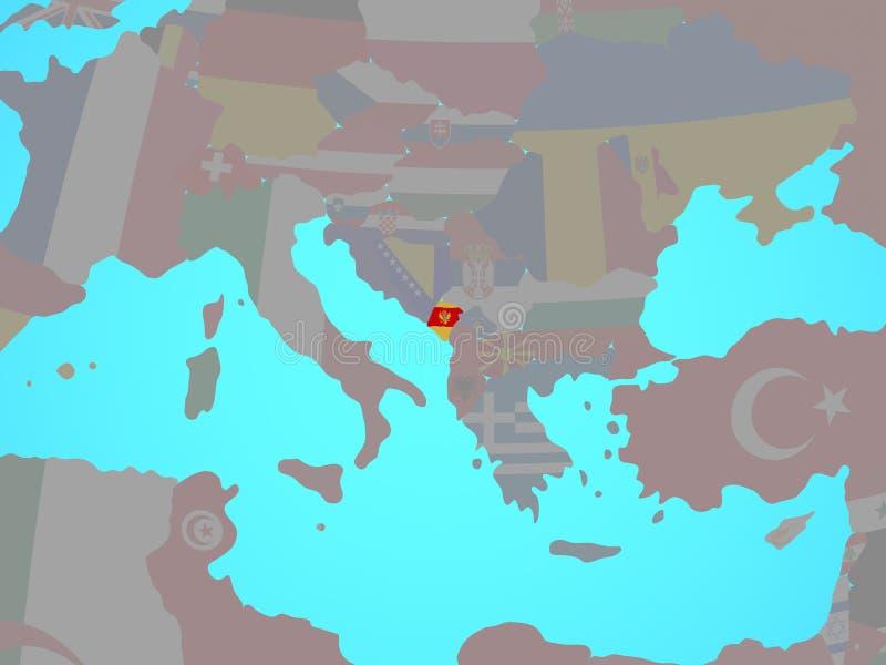 Montenegro con la bandera en mapa libre illustration