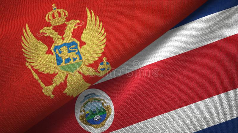 Montenegro and Costa Rica two flags textile cloth, fabric texture vector illustration