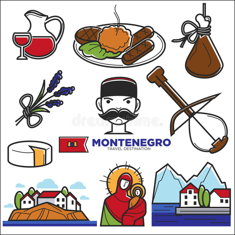 Montenegro culture and landmarks vector icons. Montenegro culture sightseeing landmarks and famous vector travel attractions. Vector Montenegrin flag and map royalty free illustration