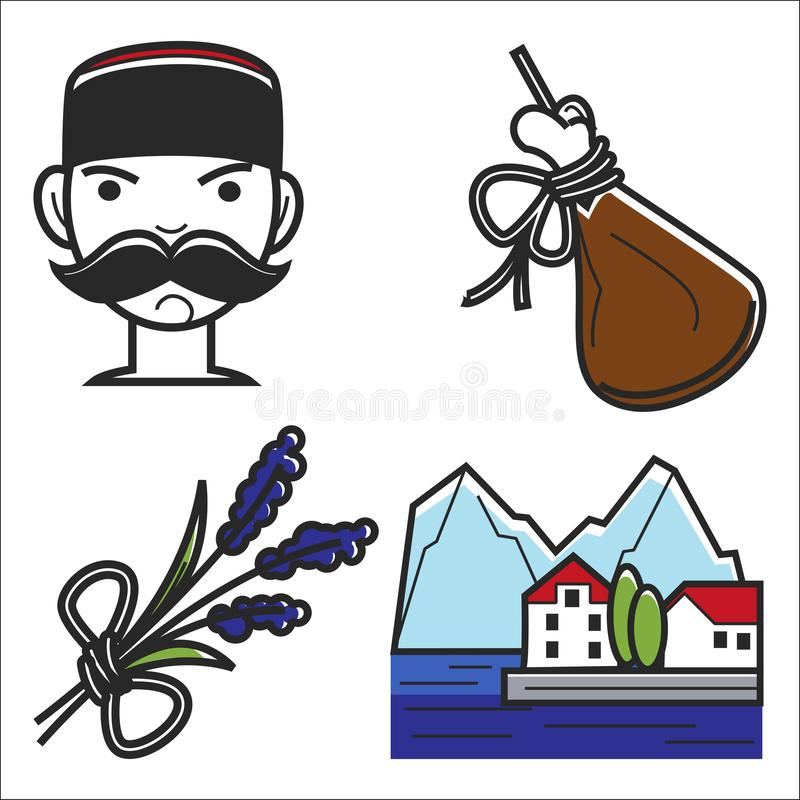 Montenegro culture sightseeing landmarks and famous vector travel attractions. Vector royalty free illustration