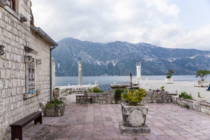 Montenegro. Eilandje Onze Dame van de Rotsen royalty-vrije stock foto's