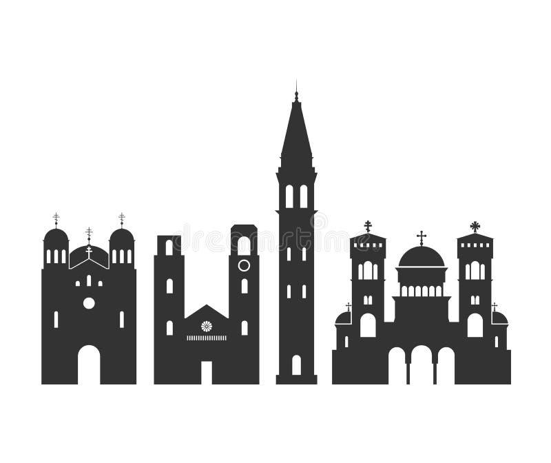 Montenegro embleem Geïsoleerde architectuur Van Montenegro op witte achtergrond vector illustratie