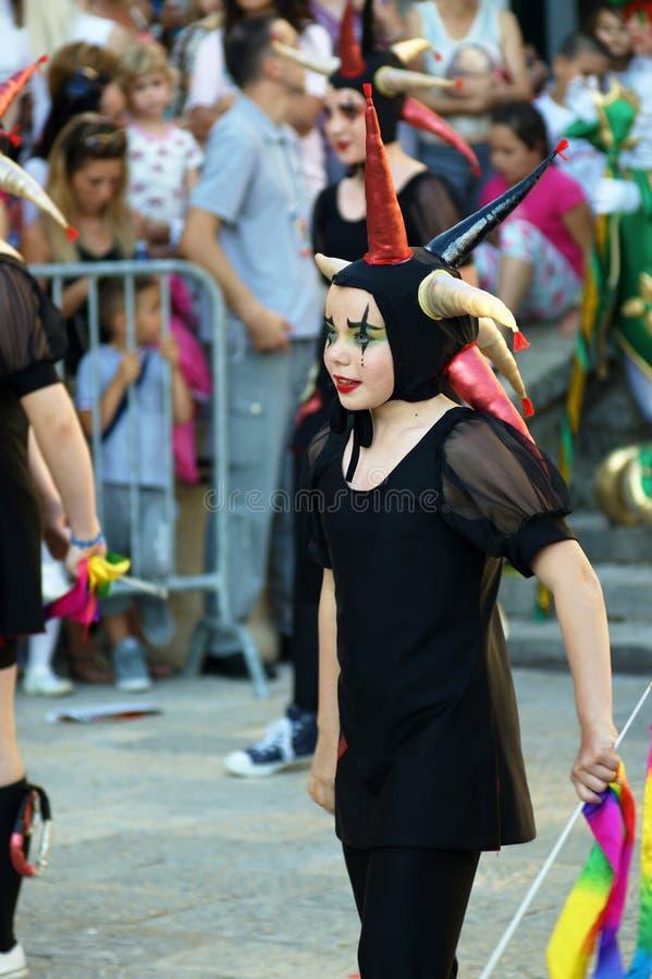 Montenegro, Herceg Novi - 04/06/2016: The girl, dressed in a fancy suit jester. stock image