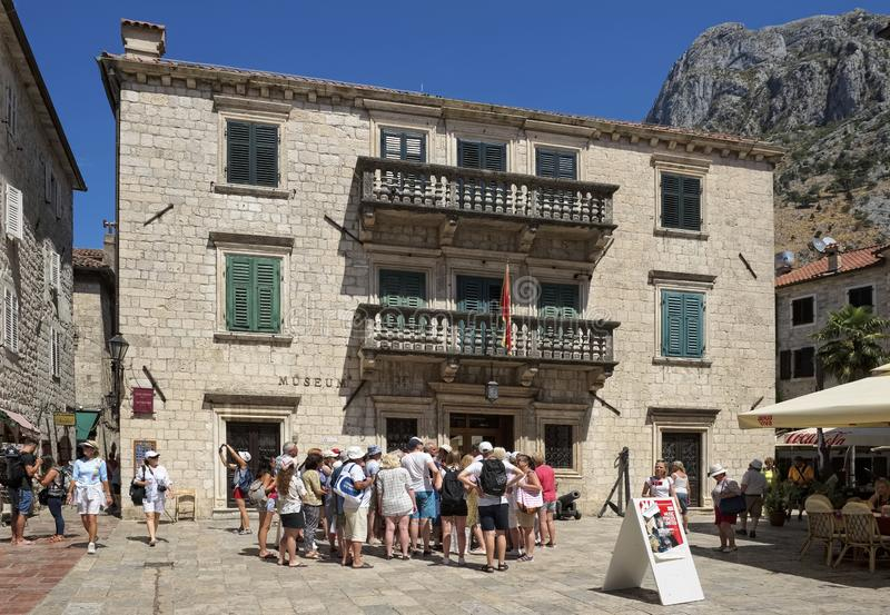 Maritime Museum in Kotor. Montenegro, Kotor - August 13, 2017: Tourists near the Maritime Museum located in the Grgurina Palace, 1732, landmark stock images