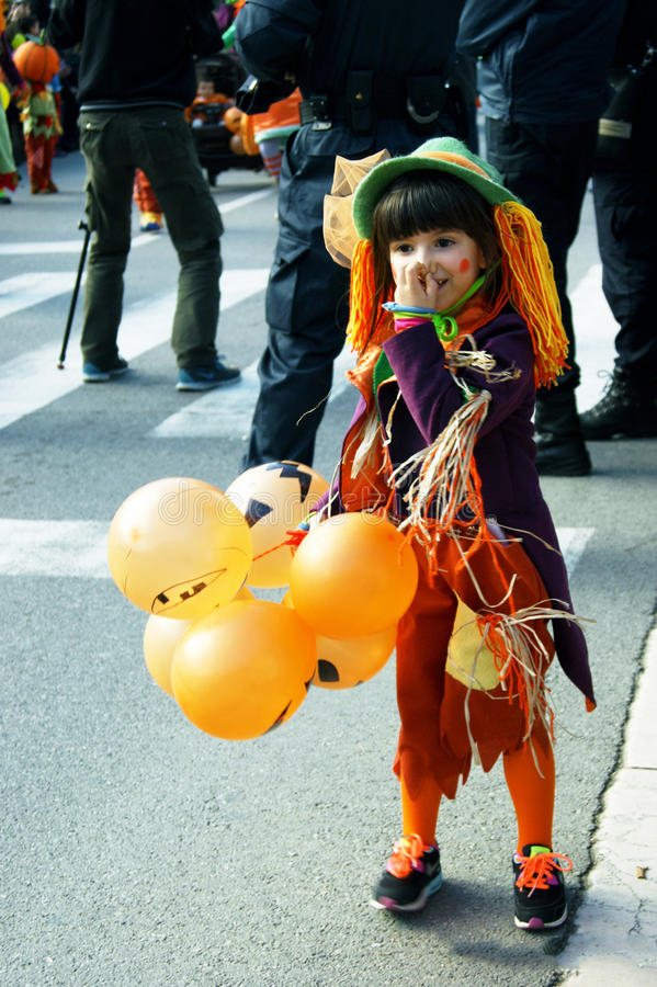 Montenegro, Kotor - 03/13/2016: Child in bright carnival costume. royalty free stock photos