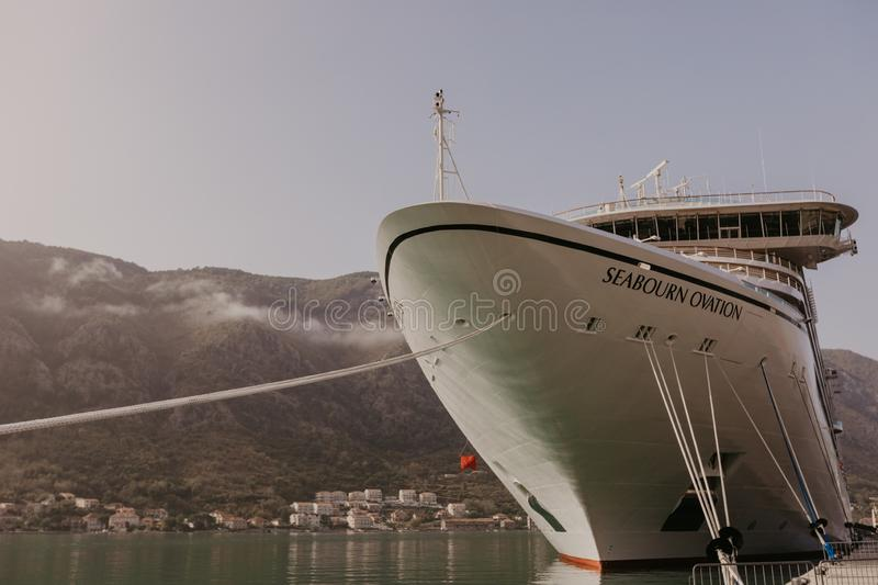 Montenegro, Kotor - November 30, 2018. View of the cruise ocean liner SEABORN OVATION at the pier of the city of Kotor - Image.  stock image