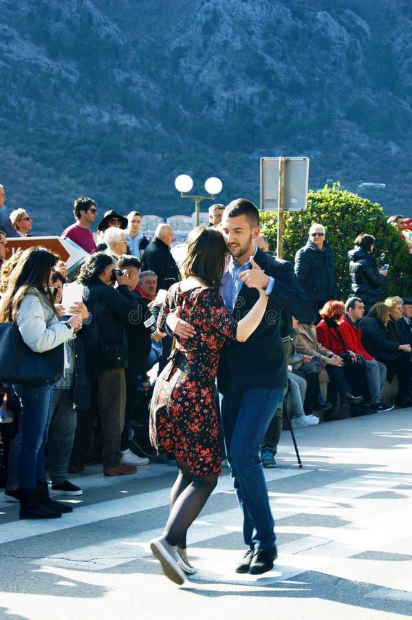 Montenegro, Kotor - 03/13/2016: The pair performs the Argentine tango. stock photo
