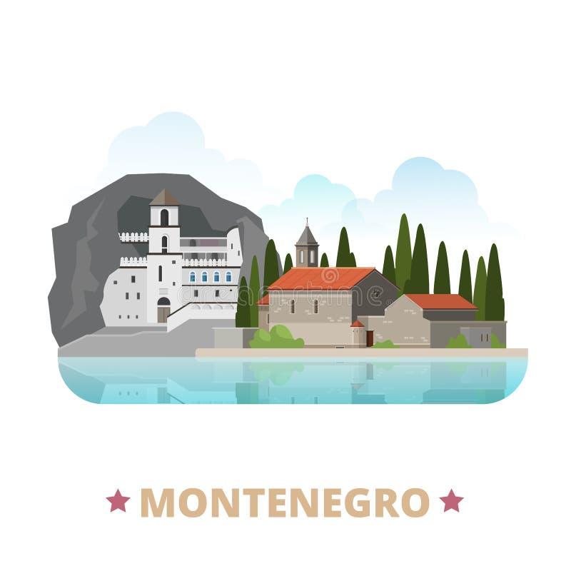 Montenegro kraju projekta szablonu kreskówki Płaski st ilustracja wektor
