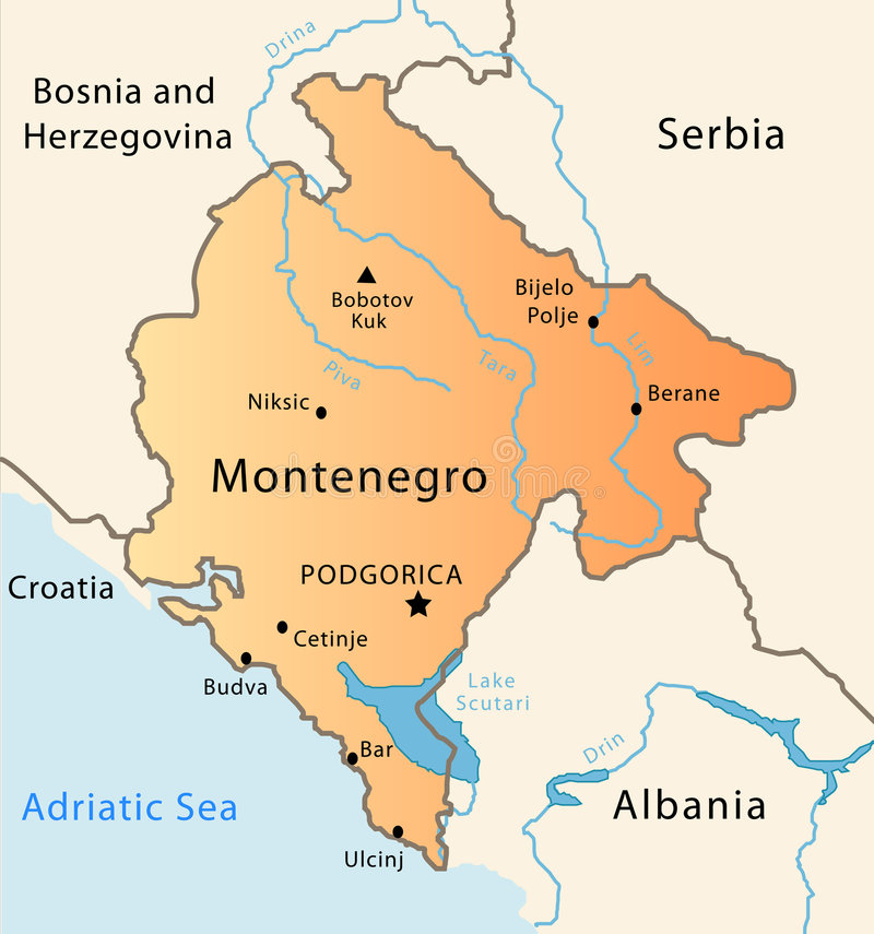 Montenegro map. Illustration of a detailed political map of Montenegro vector illustration