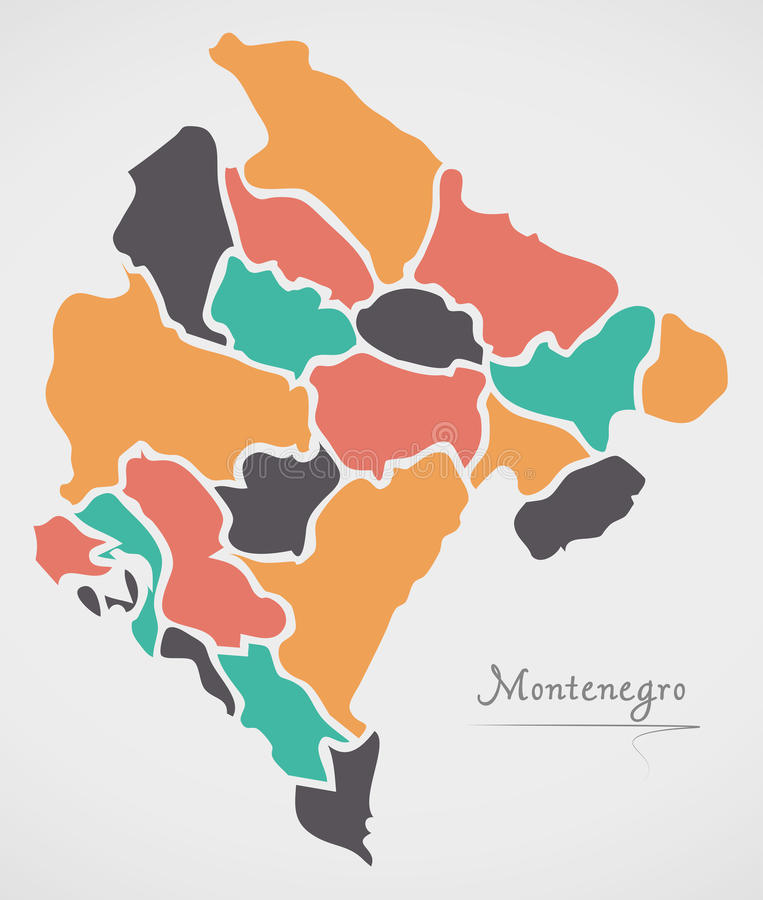 Montenegro Map with states and modern round shapes. Illustration vector illustration