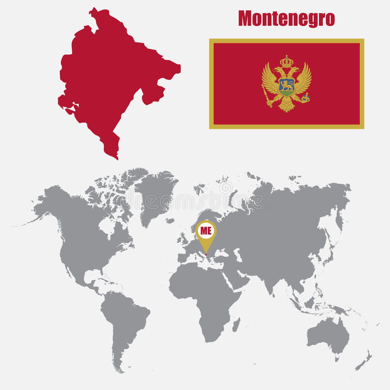 Montenegro Map On A World Map With Flag And Map Pointer Vector - Montenegro map download