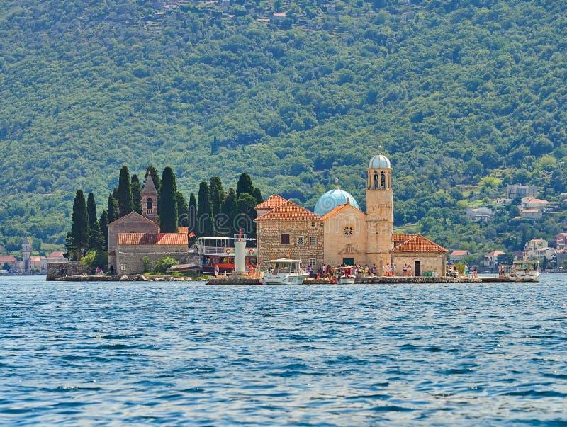 Montenegro, nossa senhora da ilhota das rochas, Perast fotos de stock