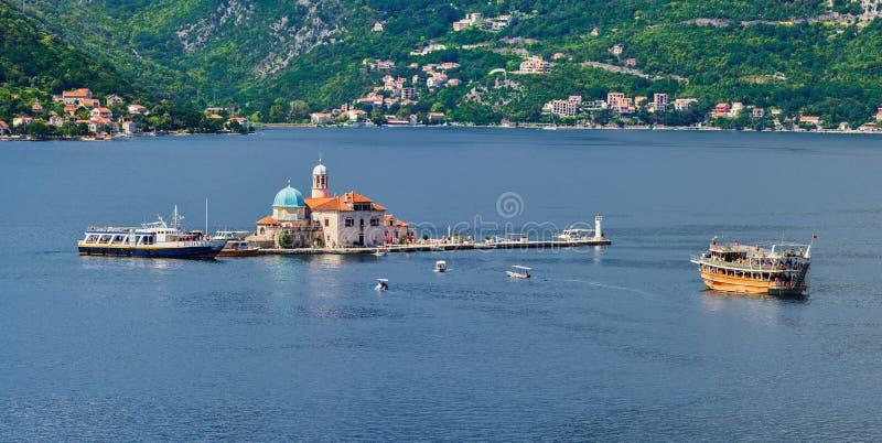 Montenegro, nossa senhora da ilhota das rochas, Perast imagem de stock royalty free