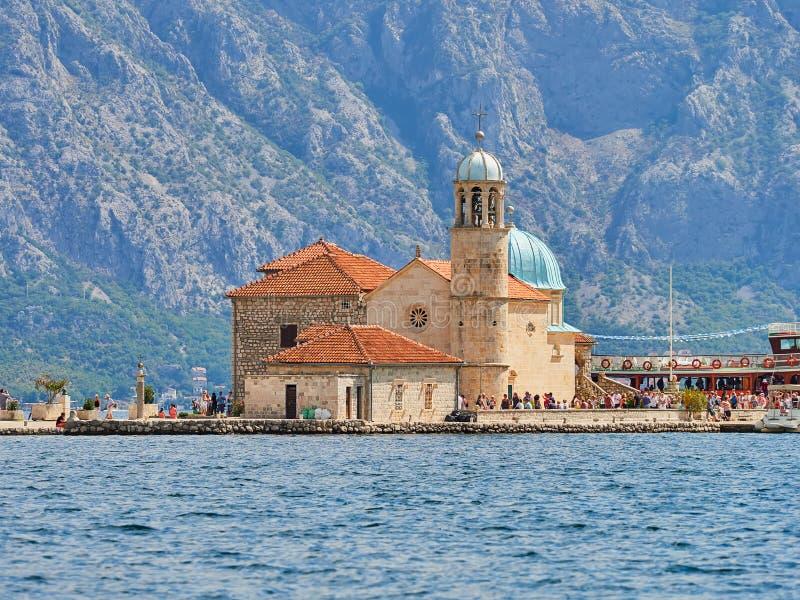 Montenegro, nossa senhora da ilhota das rochas, Perast imagem de stock