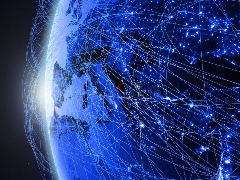 Montenegro op blauwe Aarde met netwerk vector illustratie